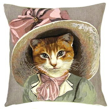 Victorian cat pink ribbon
