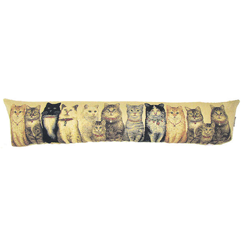 tapestry draught excluder cats in a row