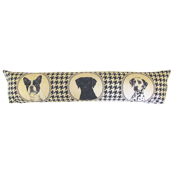 tapestry draught excluder dogs houndstooth black