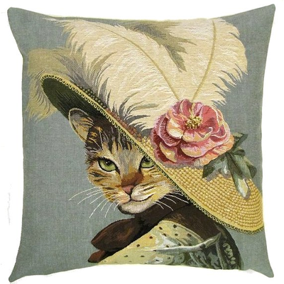 Victorian cat with rose on hat