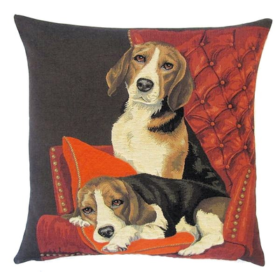 beagles on sofa