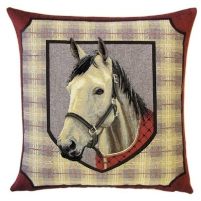 white horsehead on tartan background