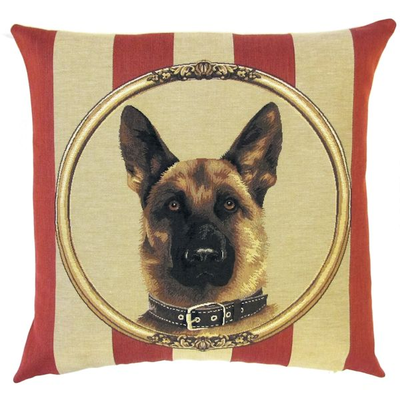 German shepherd framed on wallpaper background